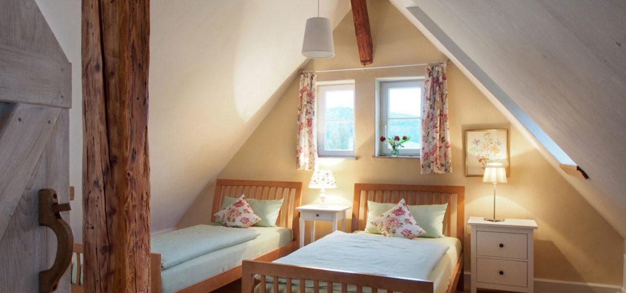 Schlafzimmer im Dachboden der Ferienwohnung