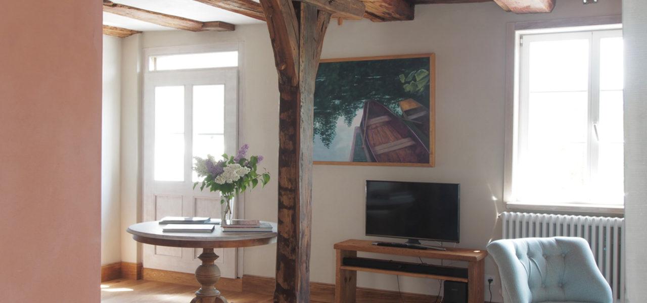 Sicht aus der Küche der Ferienwohnung im Erdgeschoss